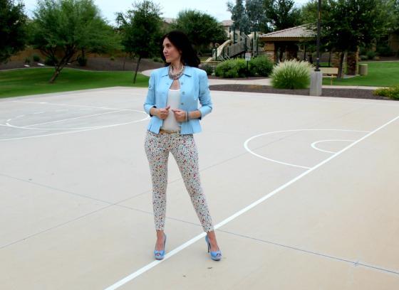 Blue Blazer Skinny Jeans 10