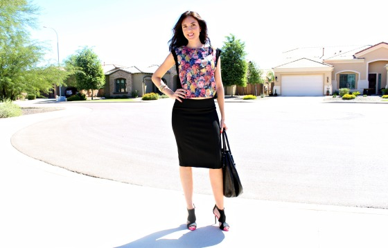 Pencil Skirt Floral Blouse 4