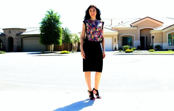 Pencil Skirt Floral Blouse