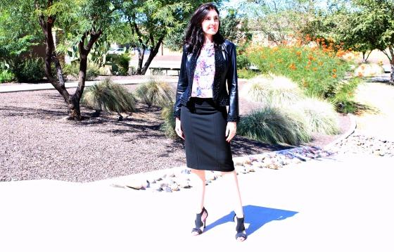Workweek Chic Pencil Skirt Leather Jacket 2