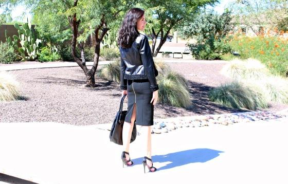 Workweek Chic Pencil Skirt Leather Jacket